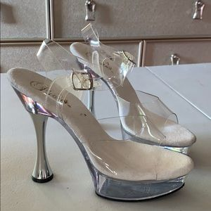 """Pleaser Clear And Silver Dancer Heels 5"""""""